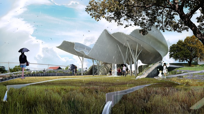 Confluence Park, designed by Ball-Nogues Studio. Rendering courtesy of San Antonio River Foundation.