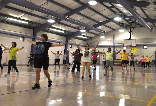 A recent Zumba class at Rogers Elementary School. Photo by Iris Dimmick.