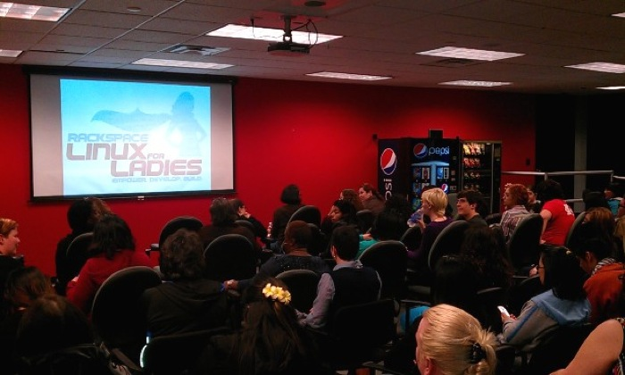 Women crowd the Open Cloud Academy for the Linux for Ladies Info session