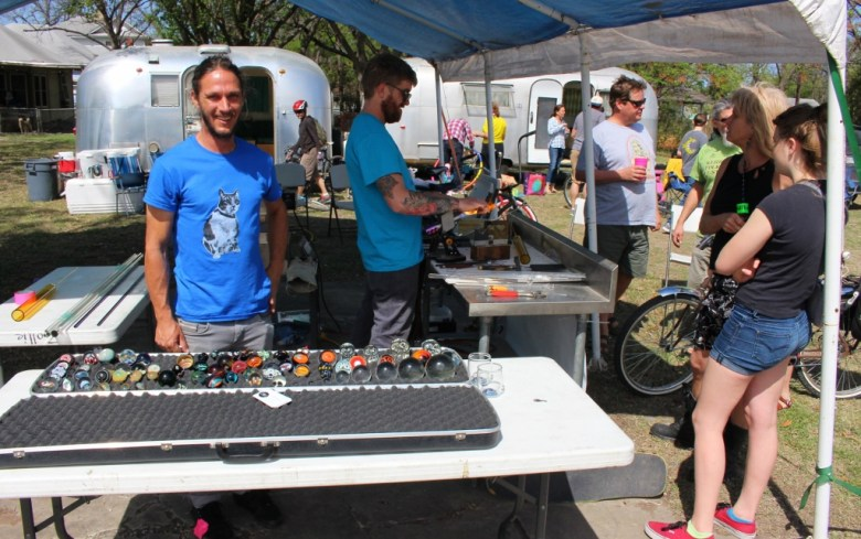 Glassblowers from ZGS Glass Studio demonstrate their craft and their wares. Photo by Page Graham.