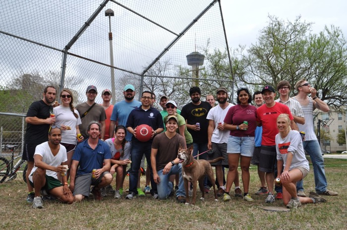 Downtown Kickballers and District 1 Councilman Diego Bernal pose for a photo after a job well done at Labor Street Park. Photo by Iris Dimmick.