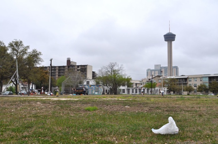 Labor Street Park during the Downtown Kickball clean up effort in March 2014. Photo by Iris Dimmick.