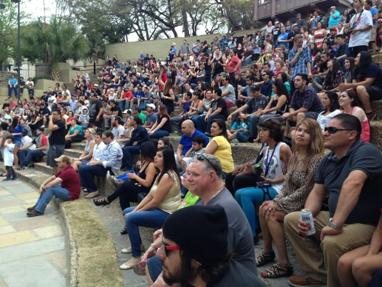 Concert goers gather at Arneson River Theatre for the 2014 Maverick Music Festival. Photo by Taylor Browning.