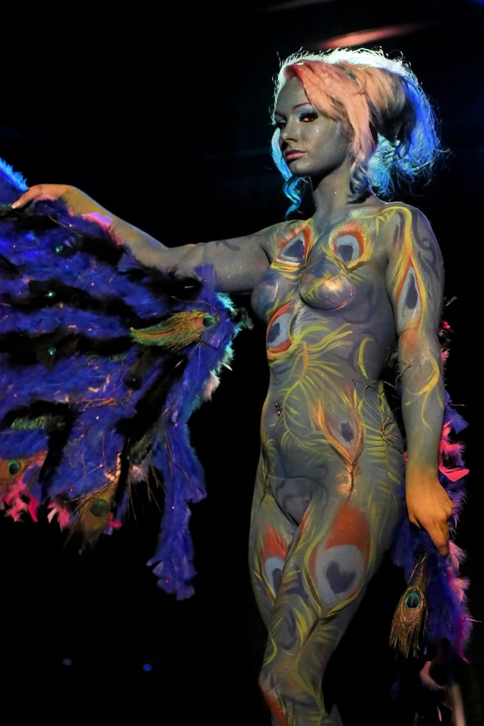 Michelle Corpe models body paint by Oscar Galvan Jr. during the RAW San Antonio in January. Photo by Pixels Photographer Antonio Morano.