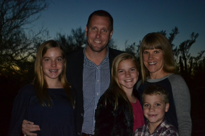 Taylor Rhodes with wife Stacey (right) and children (from left) Peyton, 14, Parker, 12, and Pierce, 9. Courtesy photo.