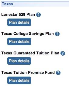 Texas state 529 options via www.savingforcollege.com.