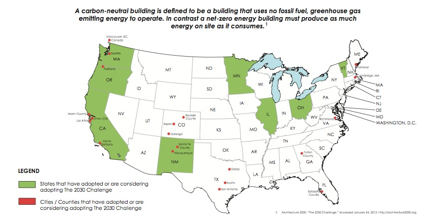 States and cities that have adopted the 2030 Challenge of net-zero energy buildings.