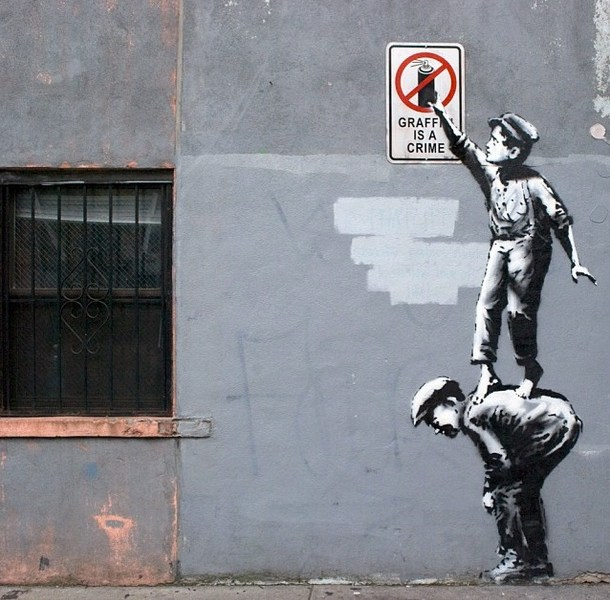 Some of Banksy's work in Manhattan. His work often has a satirical, political, social message. Banksy's true identity is still unknown. Photo courtesy of Banksy's Instagram @banksyny.