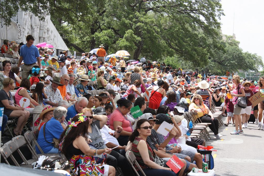 Tickets were available for purchase for those wishing to sit along the parade route in provided seating while at the Battle of Flowers Parade, April 25, 2014. Photo by Kay Richter.
