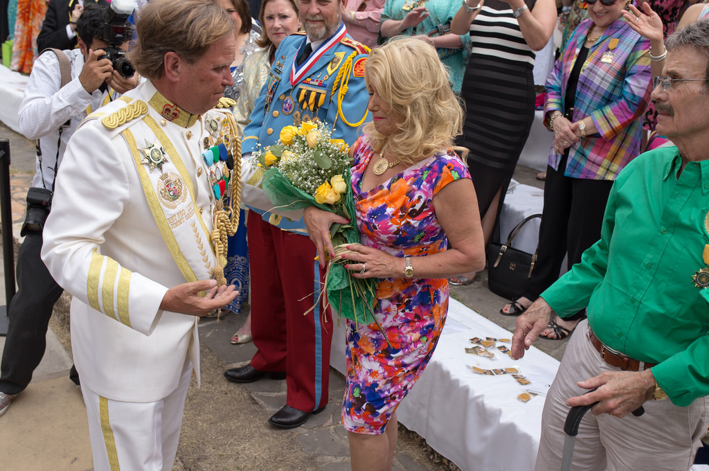 Jimmy Green tearfully greets his wife before being crowned El Rey Feo LXVI on Saturday April 19, 2014. Photo by Scott Ball.