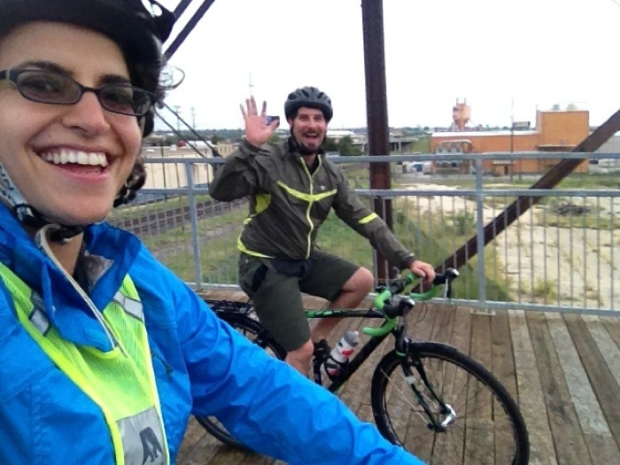 Anna and Doug CohenMiller riding in the rain on the Hays Street Bridge. Courtesy photo.