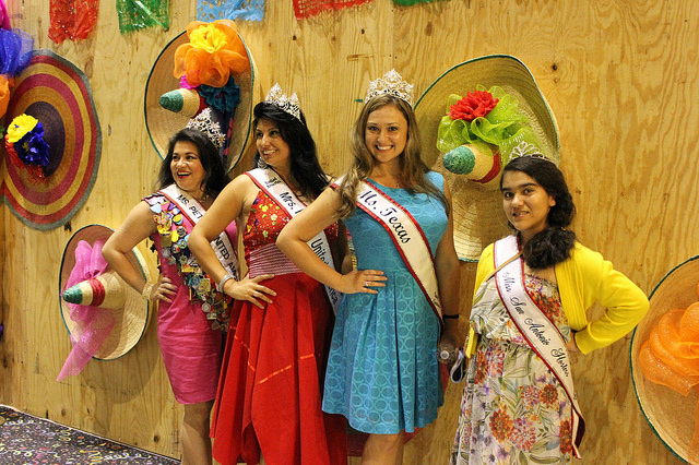Fiesta royalty hangs out at the Weston Centre Fiesta party during the Texas Cavaliers River Parade. Photo by Doug CohenMiller.