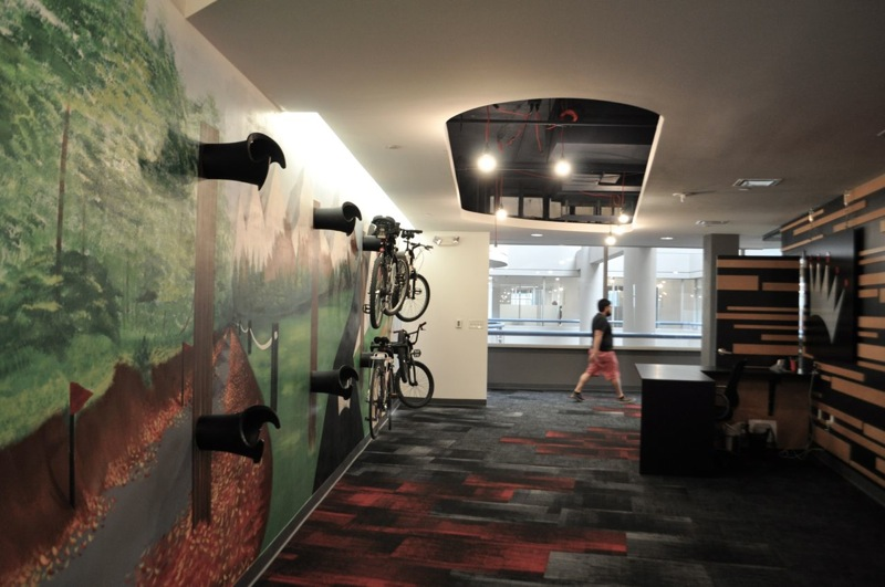 Bike mural at the new Geekdom co-working space in the Rand Building. Photo by Iris Dimmick