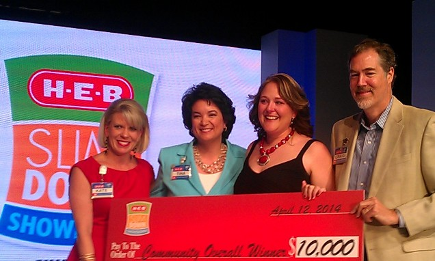 From left: H-E-B Vice President of Communication and Engagement Kate Rogers, H-E-B Senior Vice President of Human Relations Tina James, Grand Prize Winner Marie Pechacek, and H-E-B COO and President Craig Boyan. Photo by Andrew Moore.