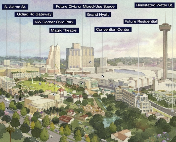 Courtesy rendering of Hemisfair Park's vision.