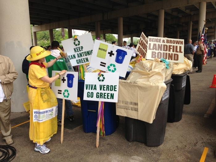 Fiesta Verde volunteers pile trash after a successful run. Photo by Keep San Antonio Beautiful.