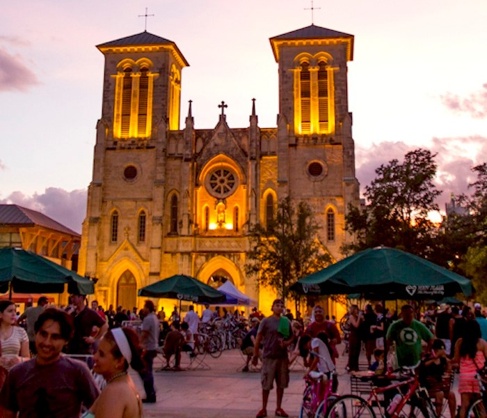 San Fernando cathedral in Main Plaza during the 2013 Bike/Beat. Photo by Steven Starnes.