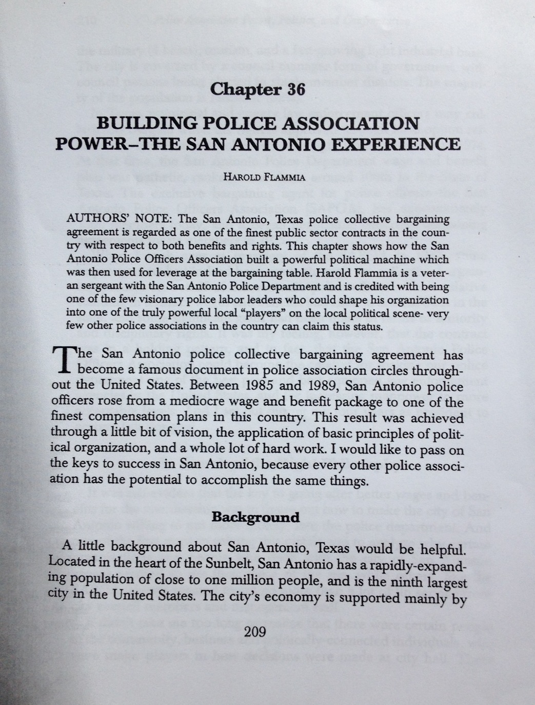 """Chapter 36 of """"Police Union Power, Politics, And Confrontation in the 21st Century"""" titled """"Building Police Association Power-The San Antonio Experience"""", has been removed from the second edition of the book."""