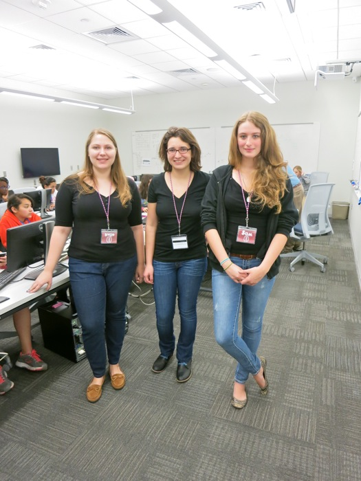 Kylie Moden with TECH Camps program assistants Rachel Jones and Sam LaVallee. Photo by Miriam Sitz.