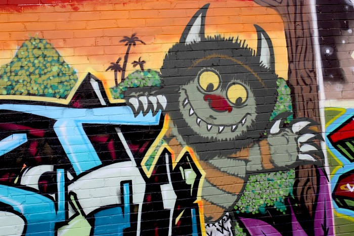 """""""Where the Wild Things Are"""" featured in a graffiti mural at 500 E. Carolina Street. Photo by Kay Richter."""
