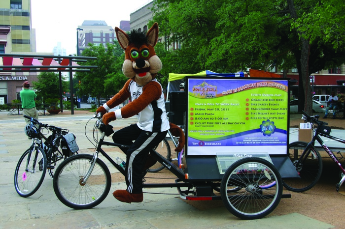 San Antonio Spurs Mascot The Coyote pays a visit to the Walk and Roll Marathon in 2012. Photo courtesy of Alamo Area MPO.