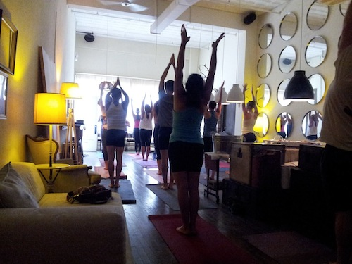 Yoga and Endless Mimosas at The Richter Co. Photo by Mario Guajardo.