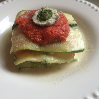 Zucchini and heirloom tomato lasagna from One Lucky Duck cleanse. Photo by Claudia Zapata.
