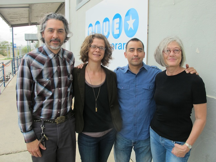 2013-2014 Berlin Residency Program participants (from left) Ricky Armendariz, Karen Mahaffy, Vincent Valdez and Cathy Cunningham-Little. Photo courtesy of Blue Star Contemporary Art Museum.
