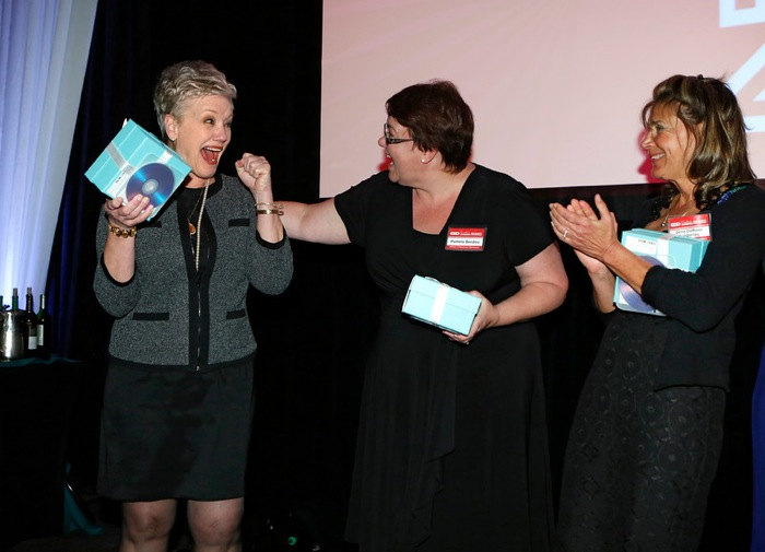 Lifetime Achievement Elementary category winner Connie Bagley of Crockett Elementary School in San Marcos, Texas reacts to winning at the HEB Excellence in Education Awards at the Grand Sonesta Hotel in Houston, Texas Saturday May 3, 2014. Photo courtesy of H-E-B.