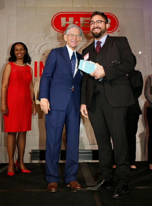 5/3/14 - Leadership Elementary category winner Nicolas Solis of Hillcrest Elementary School in Del Valle, Texas with HEB chairman and CEO Charles Butt at the HEB Excellence in Education Awards at the Grand Sonesta Hotel in Houston, Texas Saturday May 3, 2014..