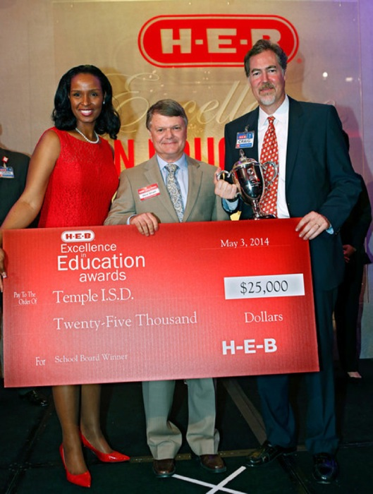 School Board category winner Temple I.S.D. represented by Steve Wright receives their check at the HEB Excellence in Education Awards at the Grand Sonesta Hotel in Houston, Texas Saturday May 3, 2014. Photo courtesy of H-E-B.