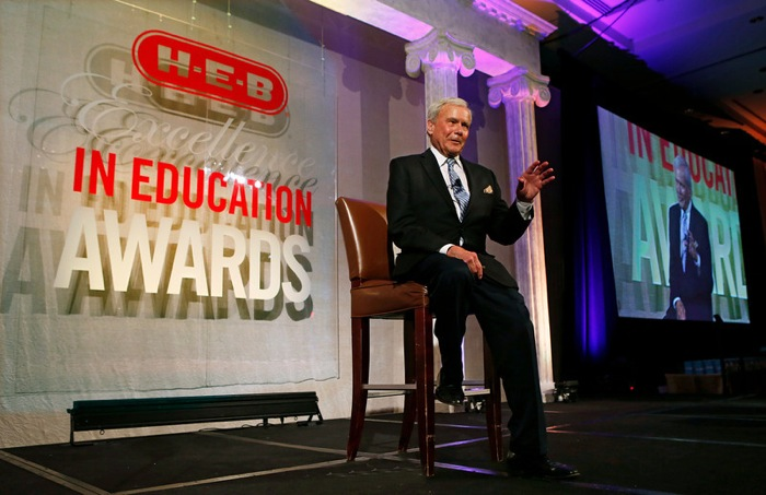 5/3/14 -  Keynote speaker and NBC broadcast journalist Tom Brokaw addresses the HEB Excellence in Education Awards at the Grand Sonesta Hotel in Houston, Texas Saturday May 3, 2014..