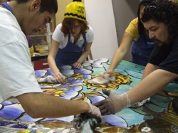 Alex Rubio (right) working with MOSAIC students. Courtesy photo.