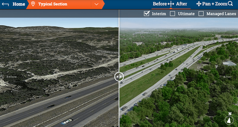 """""""Before"""" photo and """"after"""" rendering of what Tx. 281 from www.411on281.com"""