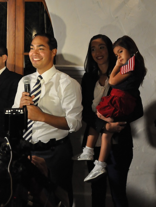 Mayor Julián Castro, his wife Erica Castro, and daughter Carina Victoria Castro celebrate early voting results at the Pre-K 4 SA election night party, Nov 6, 2012. Photo by Iris Dimmick.