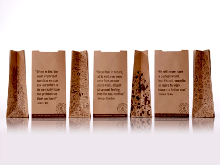 """Chipotle Mexican Grill's """"Cultivating Thought"""" bags, void of Mexican voices. Photo: Business Wire."""