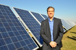 CPSE Executive Vice President Cris Eugster at Alamo 1, currently the largest solar farm in Texas. Photo by Iris Dimmick.