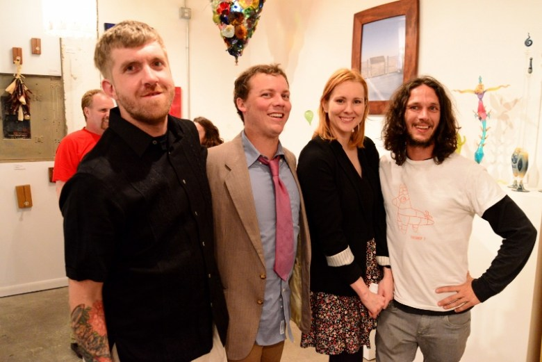 Jake Zollie Harper and Justin Parr along with other participants at an event at Zollie Art Glass. Photo by Page Graham.