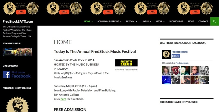 Fredstock website created by SAC students.