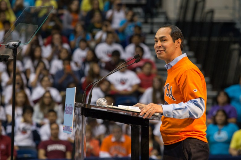 Mayor Julian Castro speaks before the First lady Michelle Obama at UTSA to talk about her college enrollment initiative during College Week. Photo by Scott Ball.
