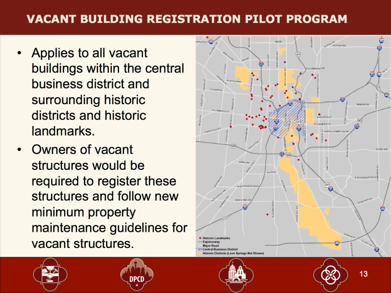From the COSA Vacant and Underutilized Building Policy and Next Step presentation.