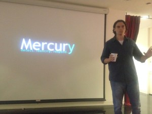 Angelo Vescio, founder of Dark Particle Labs and moderator of the San Antonio Hackers Association, presents his project, Mercury, during 3DS' cybersecurity program. Photo by Lily Casura.