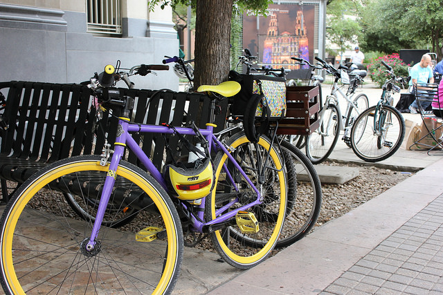 A particularly nice bike awaits a ride in Main Plaza during the 2014 MPO Walk & Roll Rally May 2, 2014. Photo by David CohenMiller.