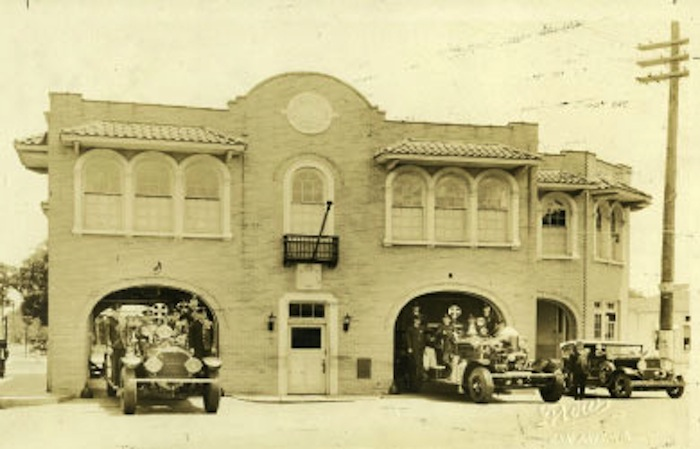 Historical photo of Fire House No.7 at 604 S. Alamo St. in its heyday.