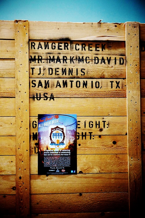 A Ranger Creek crate with San Antonio Beer Week 2014 flyer. Photo by Jeremy Karney.