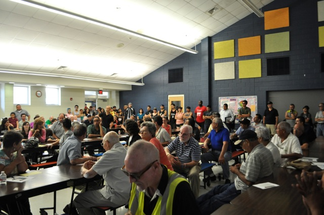 A packed Morrill Elementary School cafeteria during the South Flores Improvement Project update meeting on May 19, 2014. Photo by Iris Dimmick.