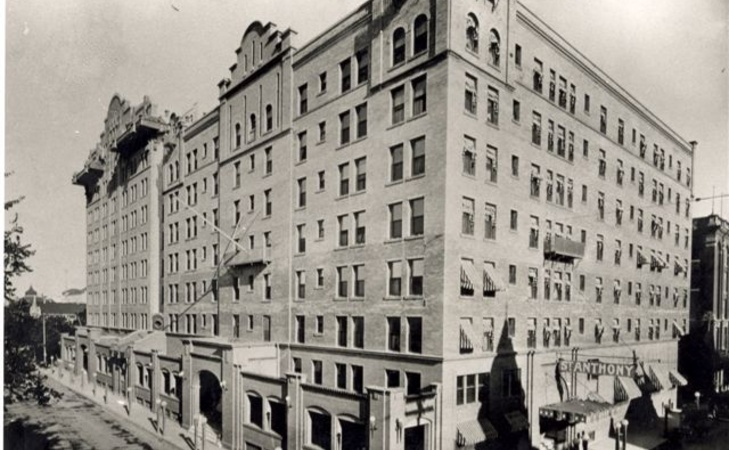 An historical photo of the St. Anthony Hotel.