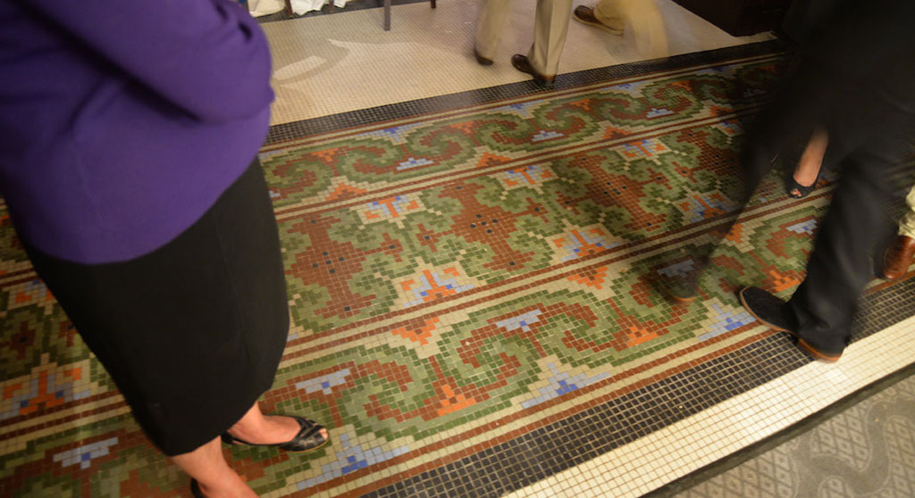 This elaborate tiled floor was one of the surprises found during the renovation of the St. Anthony Hotel. Located on the first floor, it was hidden more than 70 years. Photo by Annette Crawford.