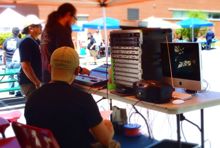 SAC Audio Production students monitor and operate the live sound system at Fredstock 2014. Photo by Miles Terracina.