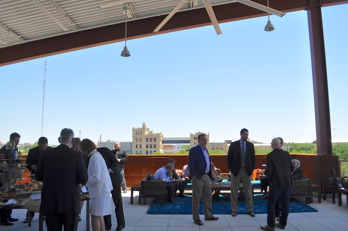 On the rooftop of the Phipps Building, SAMA in the distance, during the VYSK media event/expansion and product announcement May 15, 2014. Photo by Iris Dimmick.